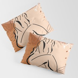 Sensual sitting woman line art, Abstract monstera leaf illustration, Organic floral background Pillow Sham