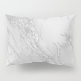 Marble Love Silver Metallic Pillow Sham