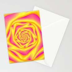 Spiral Rose in Yellow and Pink Stationery Cards