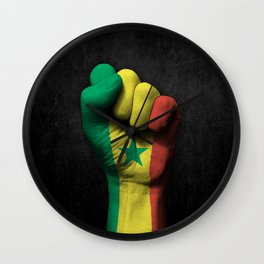Senegal Flag on a Raised Clenched Fist Wall Clock