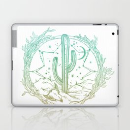 Desert Cactus Dreamcatcher Turquoise Coral Gradient on White Laptop & iPad Skin
