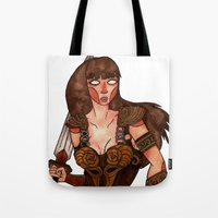 xena Tote Bags featuring Xena the Warrior Princess by Jazmine Phillips