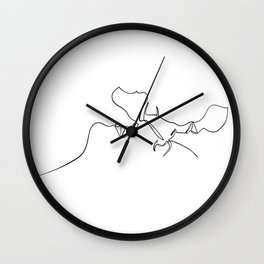 Couple Hug Line Drawing Print, Black and White, Single Continuous Line, Modern Minimalist Illustration Classic T-Shirt Wall Clock