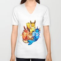 eevee V-neck T-shirts featuring EEVEE by Rosie