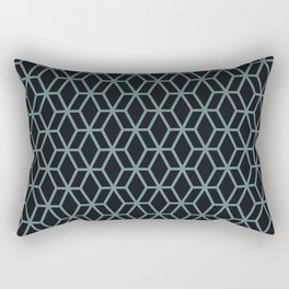 Aqua and Black Abstract Geometric Shape V2 Pairs 2021 Color of the Year Aegean Teal Rectangular Pillow