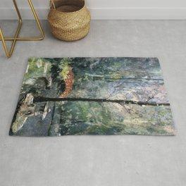 Watercolor batik on rice paper of bridge at Sarah P. Duke Gardens- Durham, NC Rug