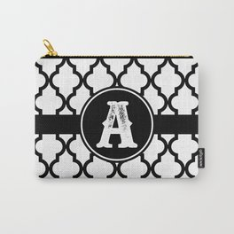 Black Monogram: Letter A Carry-All Pouch