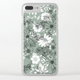 Vintage green black white hand drawn floral Clear iPhone Case