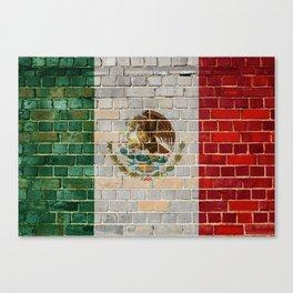Mexico flag on a brick wall Canvas Print