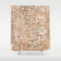brussels Shower Curtains featuring Vintage Map of Brussels (1905) by BravuraMedia