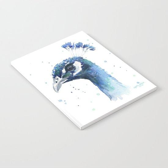Peacock Watercolor Painting Bird Animal Notebook
