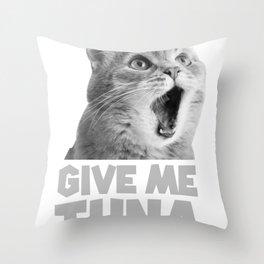cat tuna pet feeding meow Throw Pillow