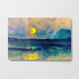 Yellow Moon (Over the Sea) landscape painting by Emil Nolde Metal Print