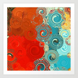 Red and Turquoise Swirls Art Print