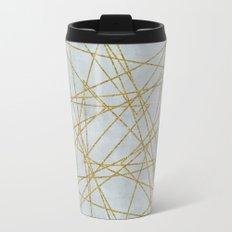 Golden Faux Glitter Lines On Teal Grey Metal Travel Mug
