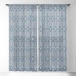 Tribal Diamonds - Navy Blue Sheer Curtain