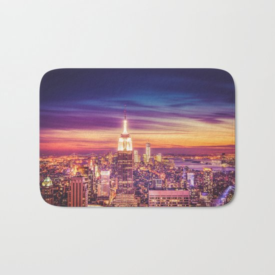 New York City Dusk Sunset Bath Mat