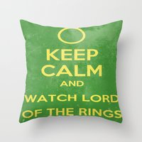 the lord of the rings Throw Pillows featuring Lord of the Rings by MeMRB
