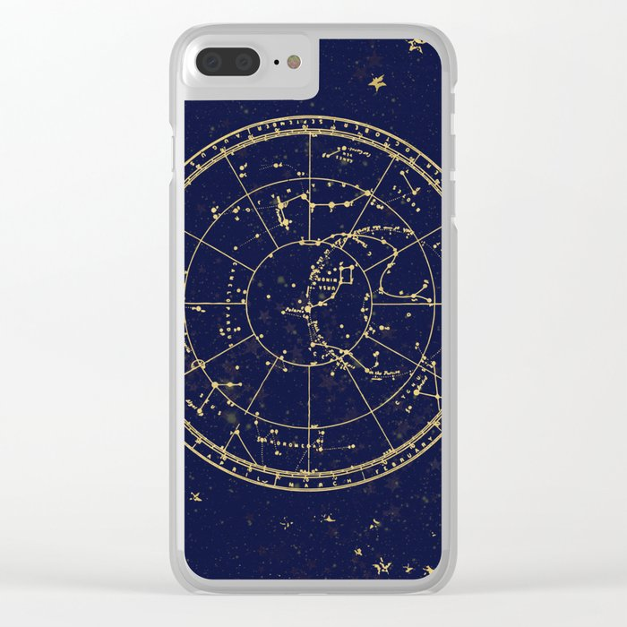 Metallic Gold Vintage Star Map 3 Clear iPhone Case