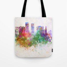 Omaha V2 skyline in watercolor background Tote Bag