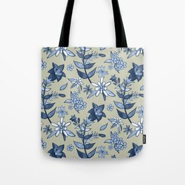 Monochrome Tan and Blue Alpine Flora Tote Bag