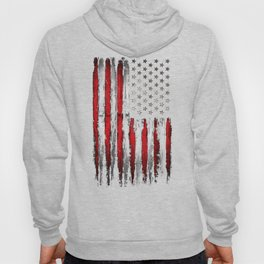 Red & white American flag on Navy ink Hoody