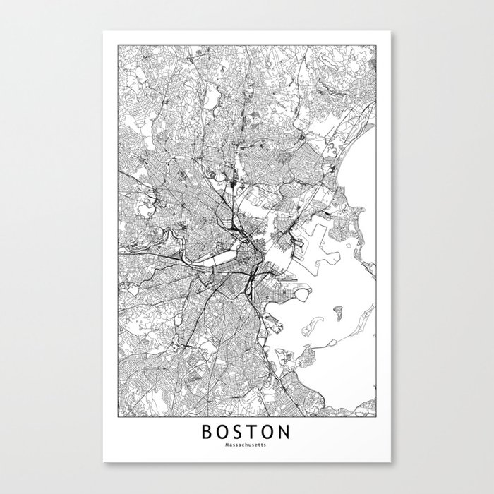 Boston White Map Leinwanddruck