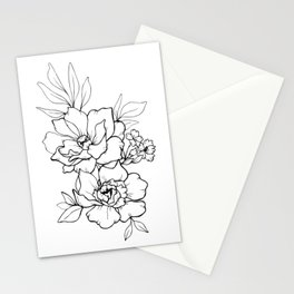 Peony Blossoms Vertical - Black Stationery Cards
