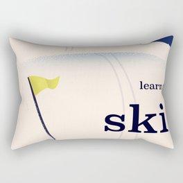Learn to ski vintage cartoon Rectangular Pillow