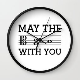 May the 4th be with you (light colors/alto clef) Wall Clock