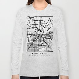 KANSAS CITY MISSOURI BLACK CITY STREET MAP ART Long Sleeve T-shirt