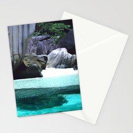 Exotic Prehistoric Rocks White Sand Beach, Seychelles Islands Stationery Cards