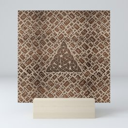 Triquetra and Runic Alphabet Wood and Gold #1 Mini Art Print