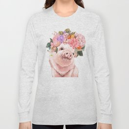 Lovely Baby Pig with Flowers Crown Long Sleeve T-shirt