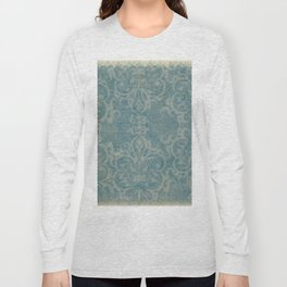 Antique rustic teal damask fabric Long Sleeve T-shirt