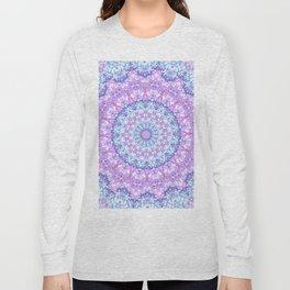 Beautiful Rose Blue Pastel Flower Mandala Long Sleeve T-shirt