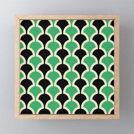 Classic Fan or Scallop Pattern 447 Black and Green Framed Mini Art Print