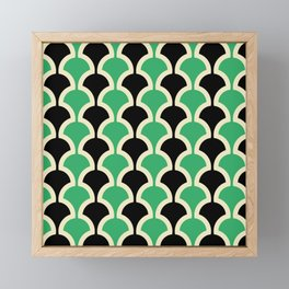 Classic Fan or Scallop Pattern 447 Black and Green Framed Mini Art Print