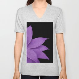 Agave Finesse #10 - Purple on Black #tropical #decor #art #society6 Unisex V-Neck
