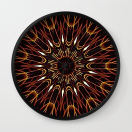 Brown Kaleidoscope Mandala Wall Clock