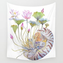 Nautilus and Lotus Surreal Watercolor Creature Wall Tapestry
