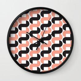 Geometric Pattern #184 (pink black knots) Wall Clock