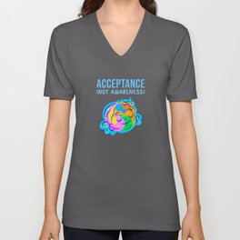 acceptance not awareness month Unisex V-Neck