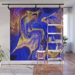Marble gold and deep blue Wall Mural