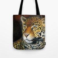 jaguar Tote Bags featuring Jaguar by Claudia Hahn