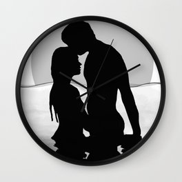 Lovers Black and White Wall Clock