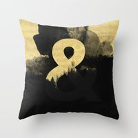 black and gold Throw Pillows featuring Black & Gold by Tamsin Lucie