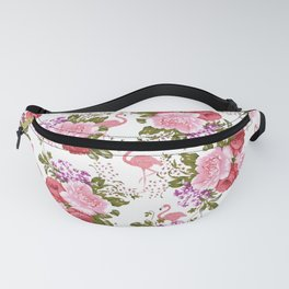 Tropical Pink Flamingo Red Pink Green Carnations Floral Fanny Pack
