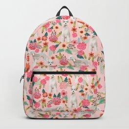 Bedlington Terrier floral dog breed gifts for unique pet lover pink Backpack
