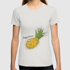 Happy Pineapple MEDIUM Womens Fitted Tee Silver